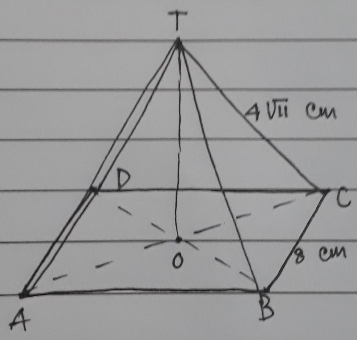 Diketahui limas segi empat beraturan T. ABCD dengan ...