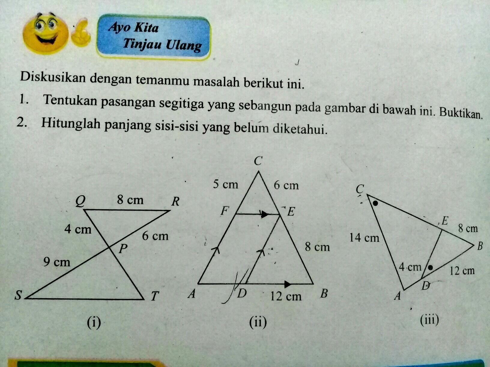1. Tentukan pasangan segitiga yang sebangun pada gambar ...