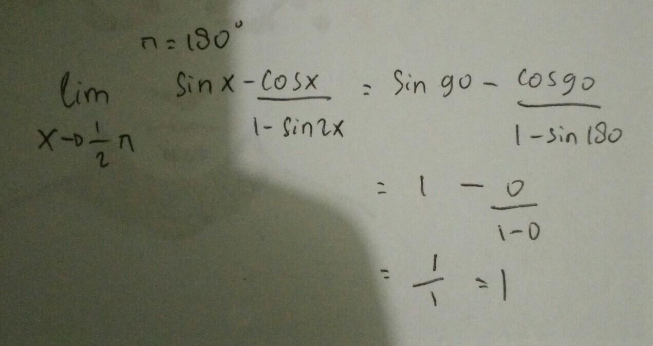 Lim X Mendekati 1 2 Phi Sin X Cos X 1 Sin 2x Brainly Co Id