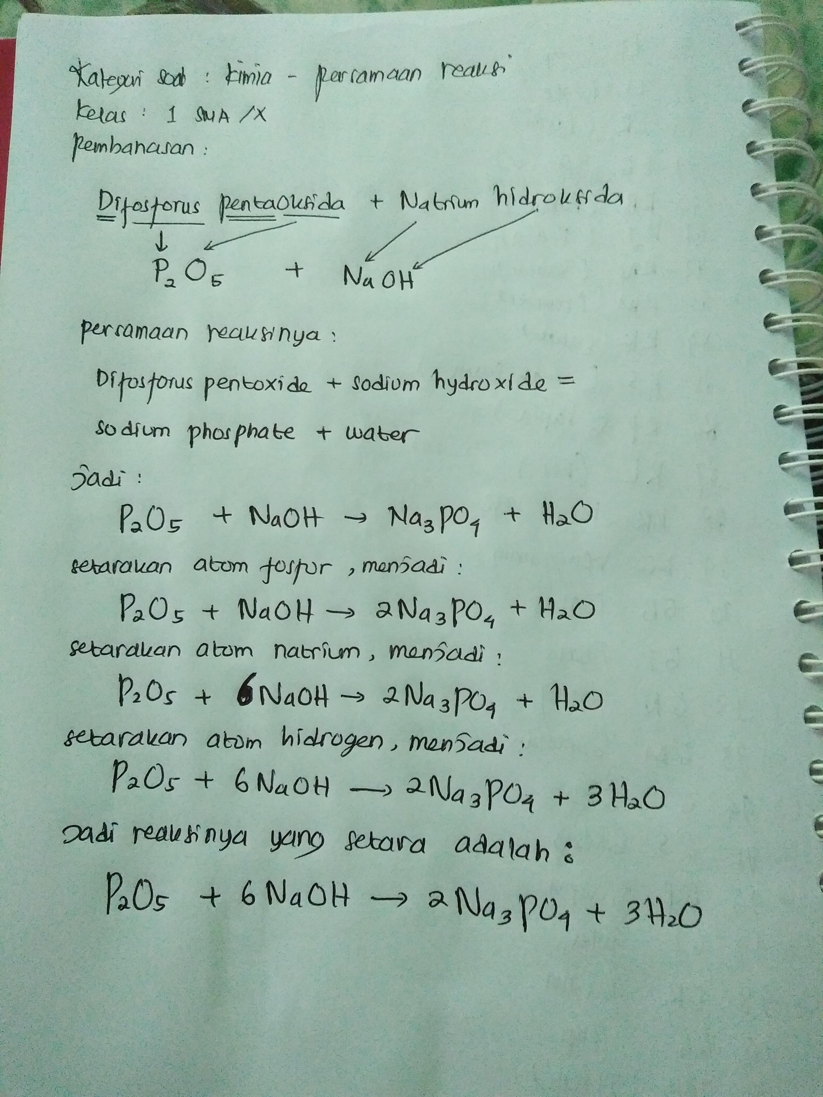 Difosforus Pentaoksida Natrium Hidroksida Brainly Co Id
