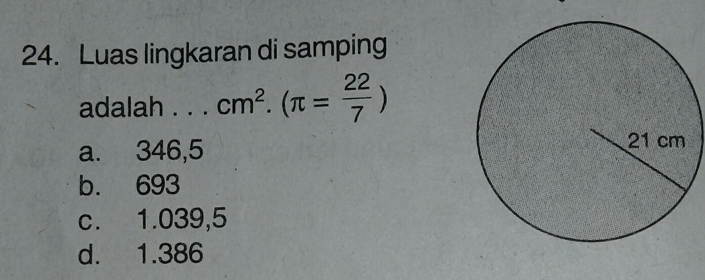 Luas Lingkaran Disamping Adalah Cm2 Phi 22 7 Tolong Jawab Brainly Co Id