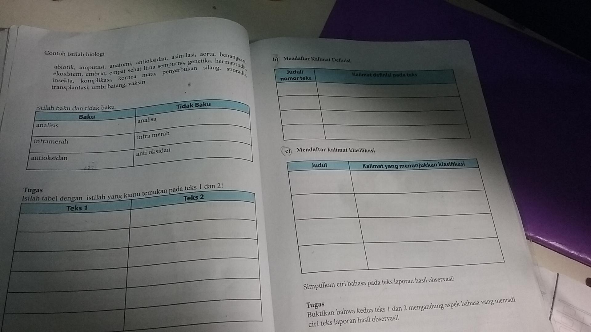 Isilah Tabel Dengan Istilah Yang Kamu Temukan Pada Teks 1 Dan Teks 2