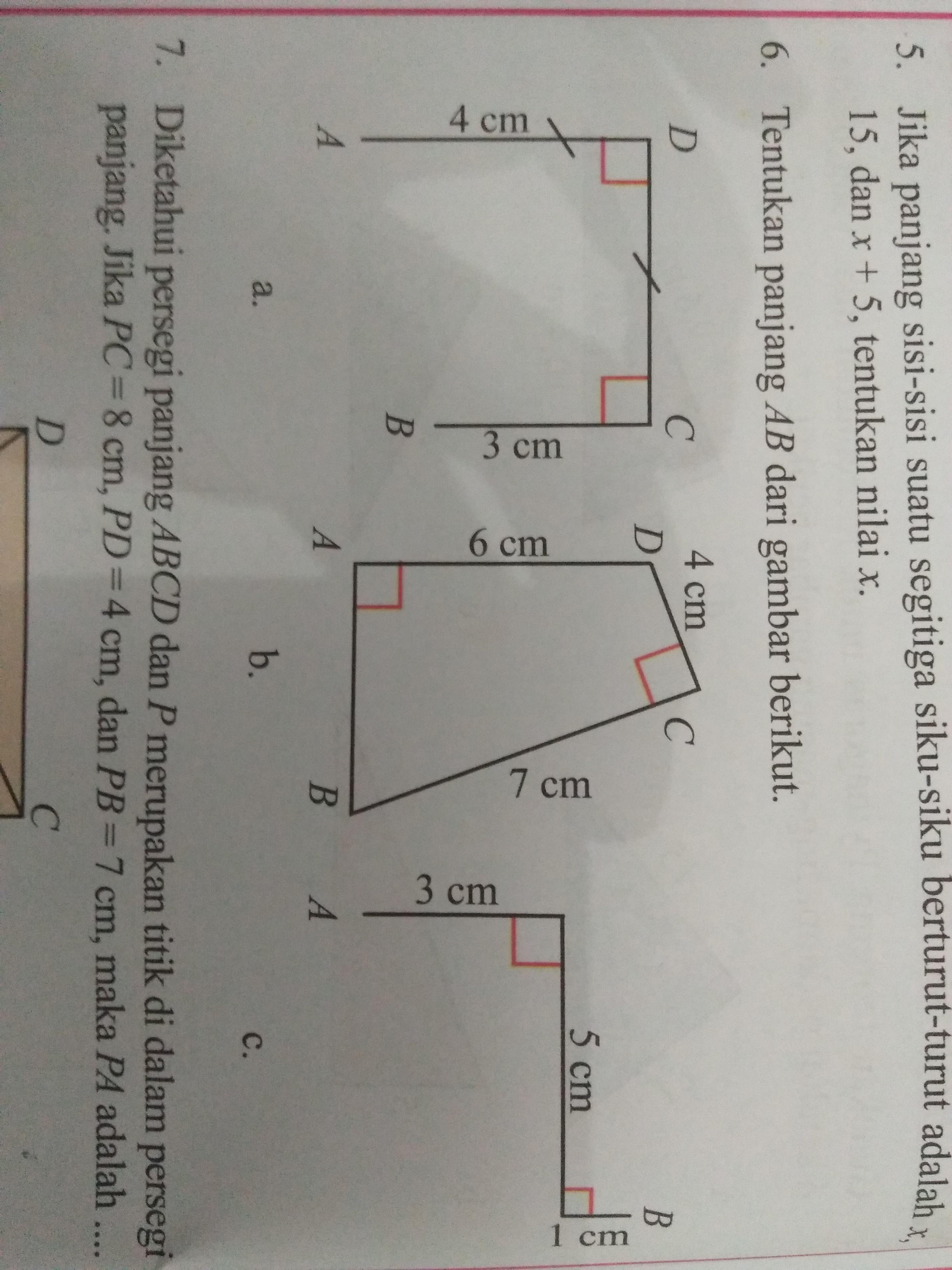 Tentukan panjang AB dari gambar berikut (itu yang nomor 6 ...