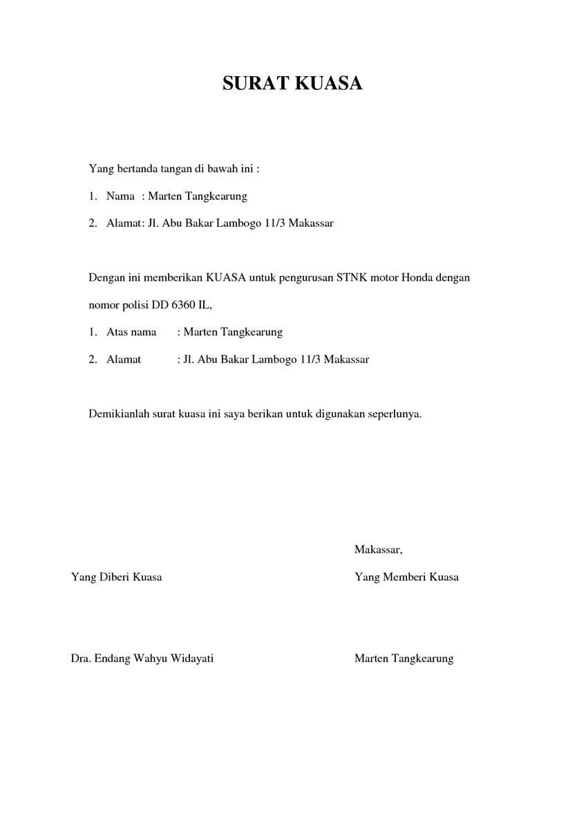 Contoh Surat Kuasa Pengurusan Stnk 5 Tahunan - Kumpulan ...