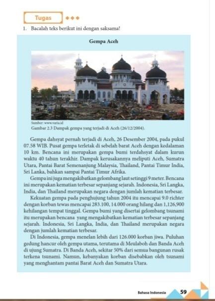 Struktur Teks Eksplanasi Gempa Aceh Buku Paket Bhs Indo Hal 59