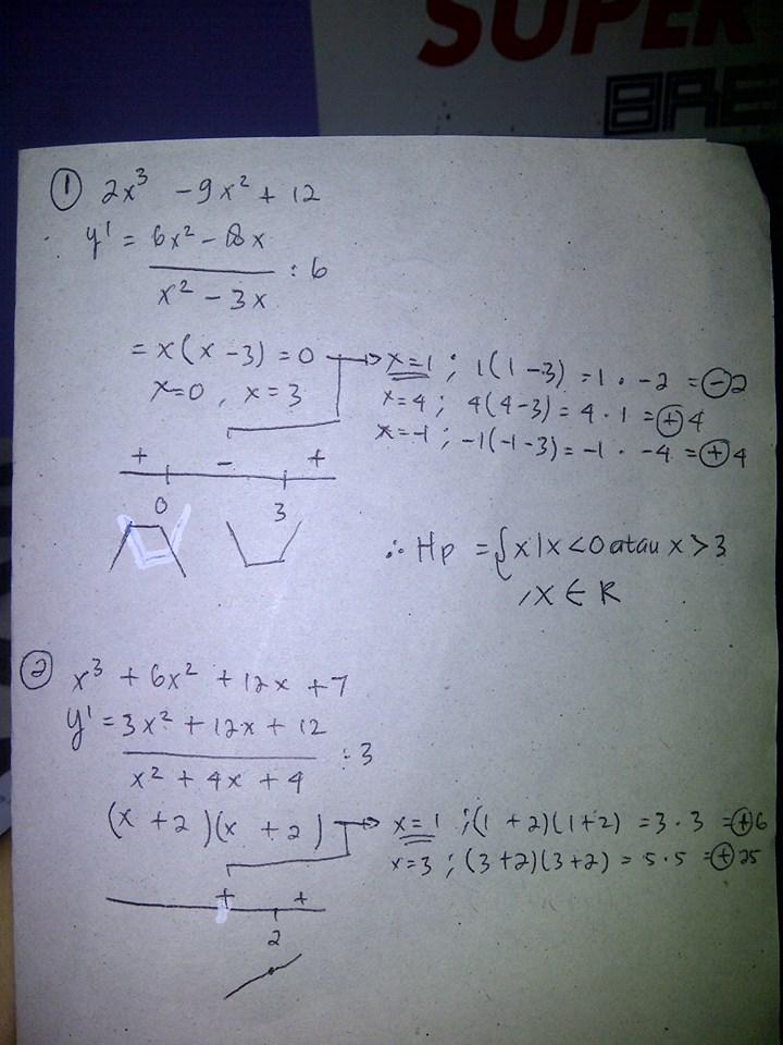 1 Fungsi F X 2x 3 9x 2 12 Naik Pada Interval A X Lt 0 Atau X Gt 3b 0 Lt X Lt 3c X Brainly Co Id