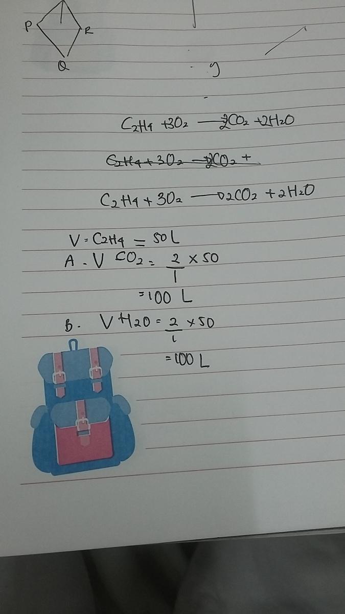 reaksi C2H4+O2→CO2+H2O jika volume C2H4 adalah 50liter ...