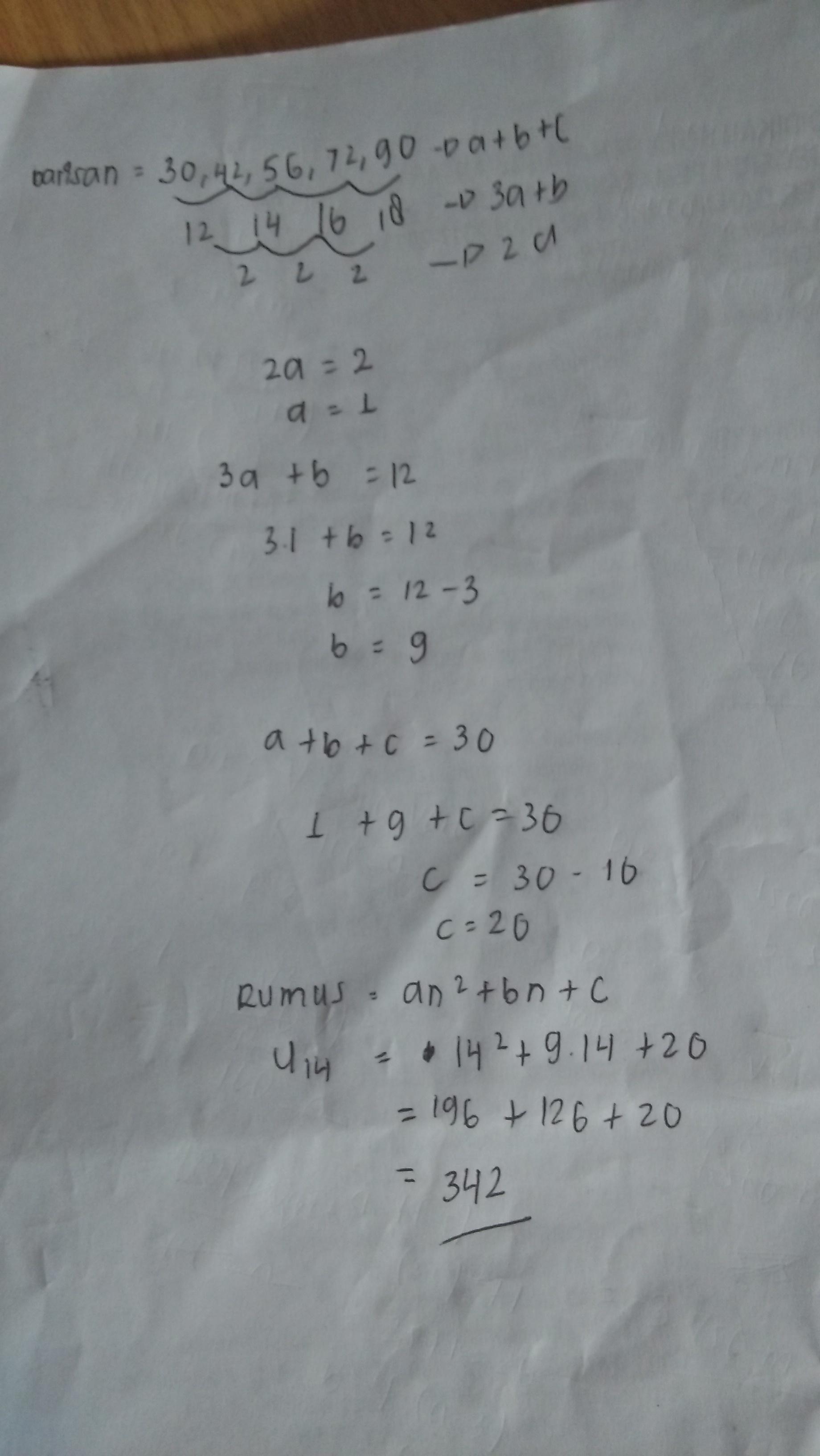 diketahui barisan bilangan 30,42,56,72,90,... suku ke-14 ...