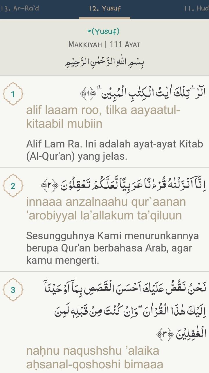 Dalil Naqli Nama Nama Kitab Allah Surat Yusuf Ayat 2