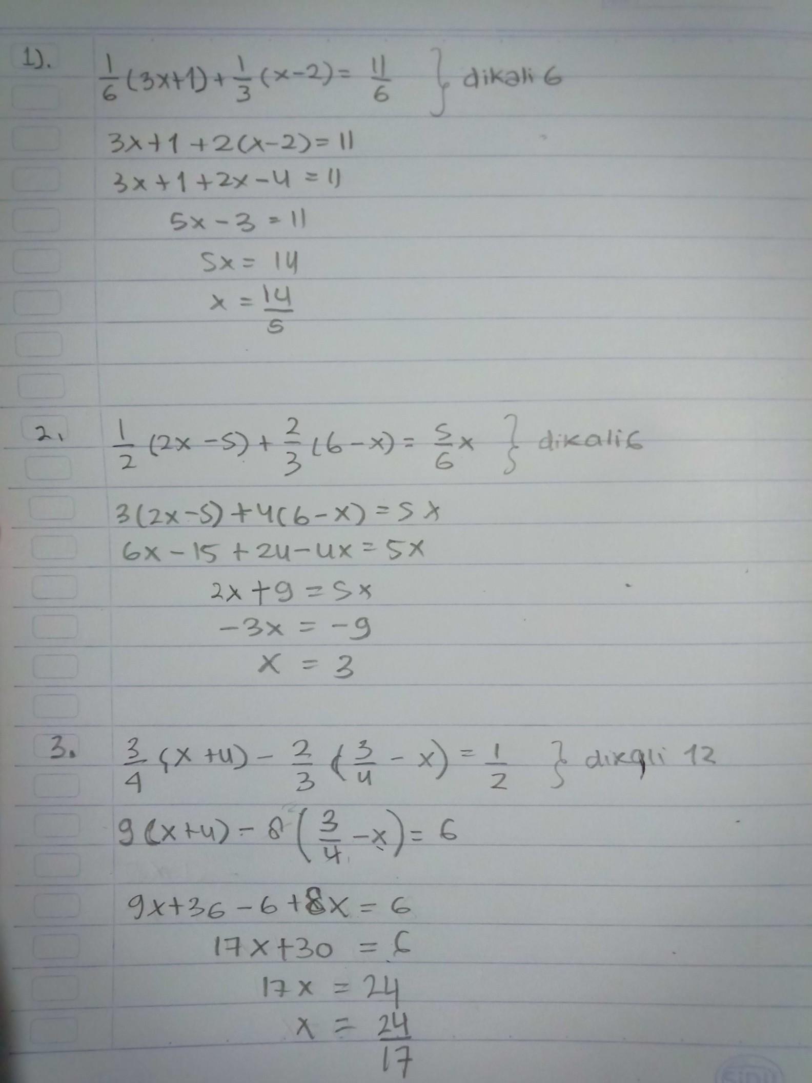 Hasil Dari 1 1 6 3x 1 1 3 X 2 1 1 6 2 1 2 2x 5 2 3 6 X 5 6x 3 3 4 X 4 Brainly Co Id