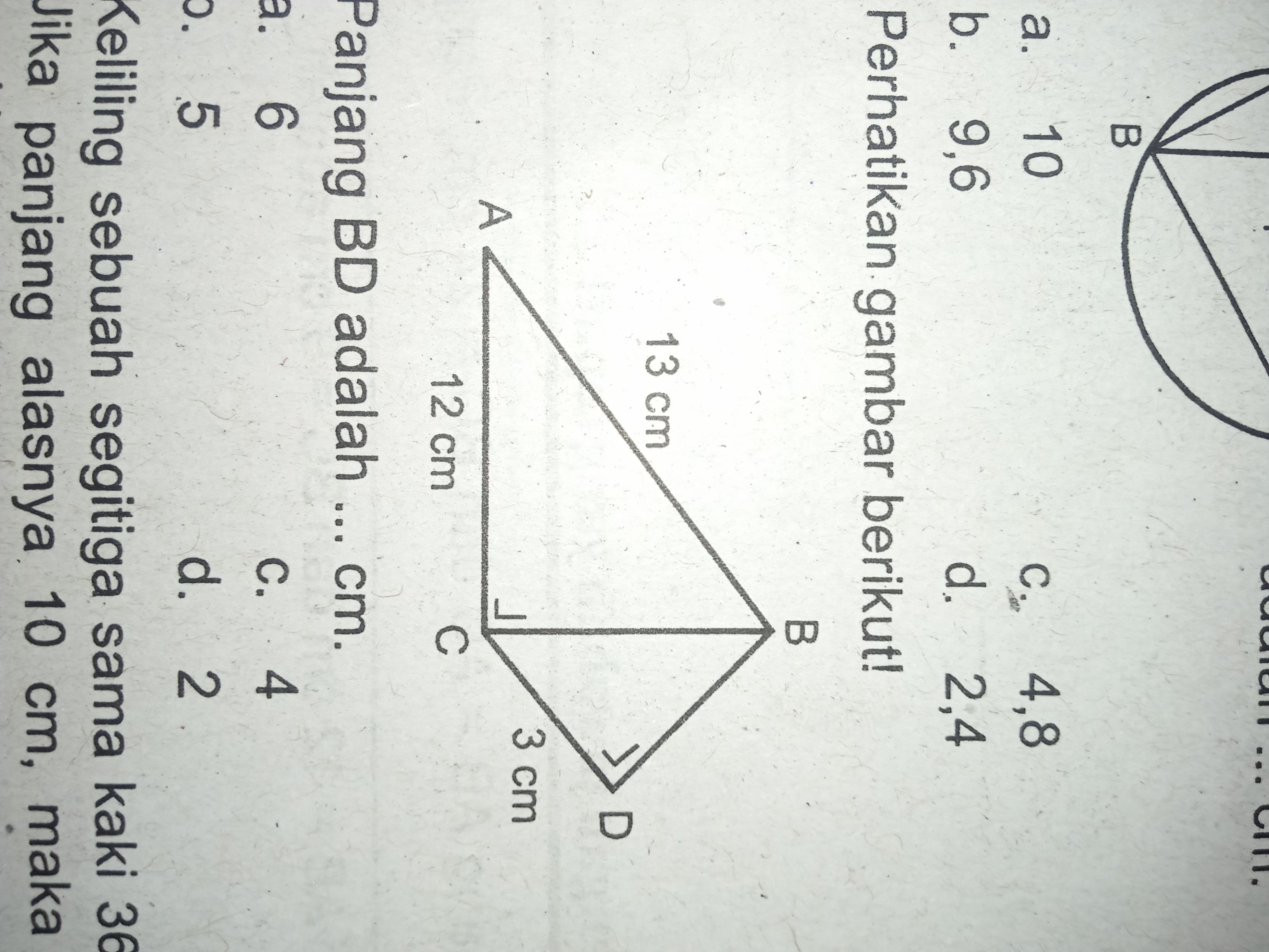 Perhatikan gambar berikut! Panjang BD adalah...cm A. 6 B ...