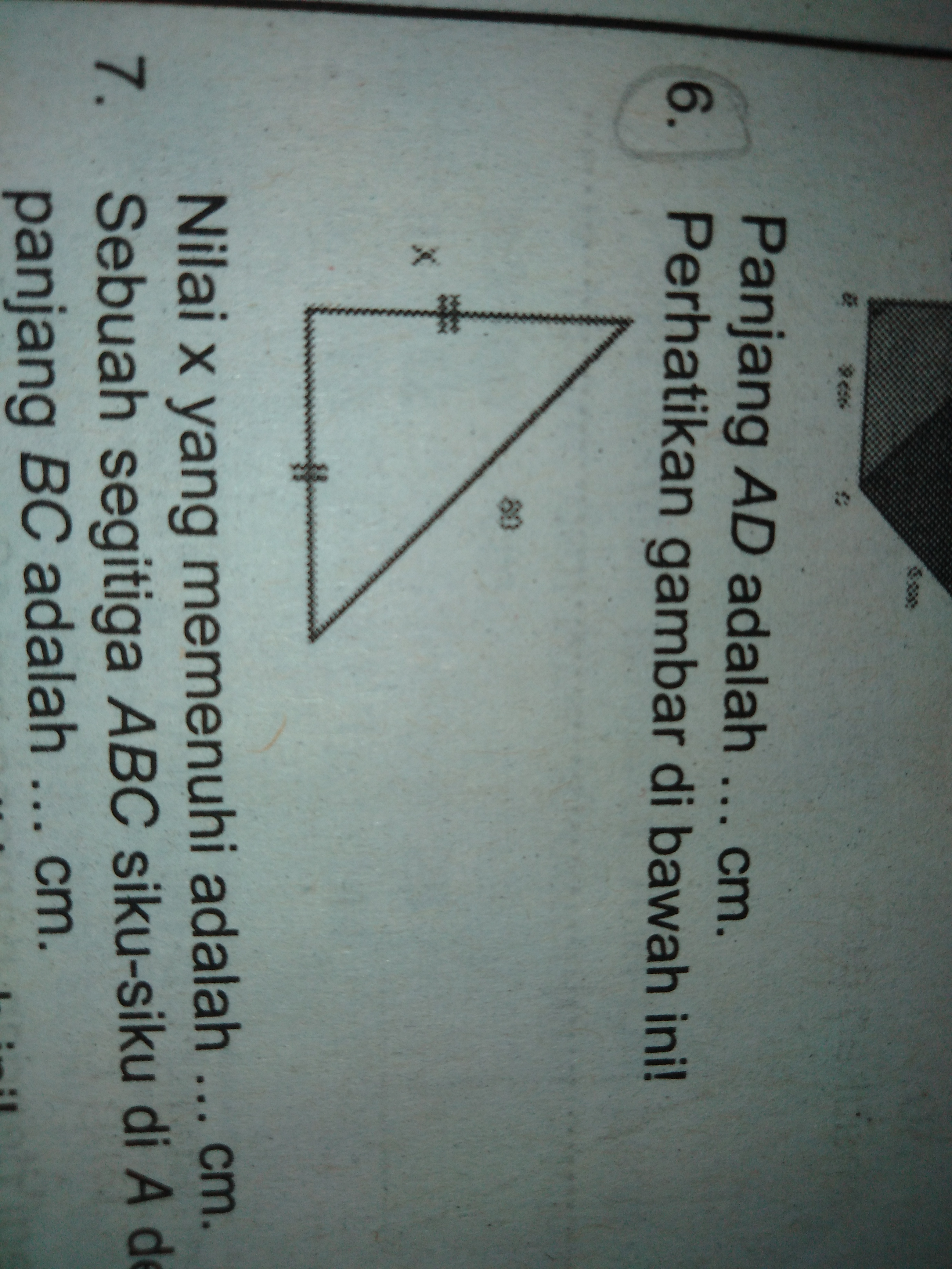 Perhatikan gambar di bawah ini! Nilai x yang memenuhi ...