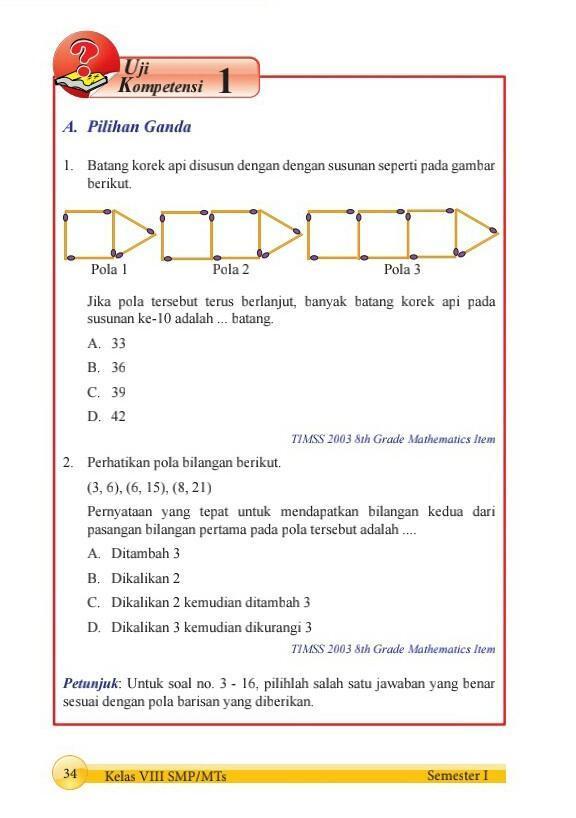 Kunci Jawaban Uji Kompetensi 1 Kelas 8 Halaman 34 Brainly Co Id