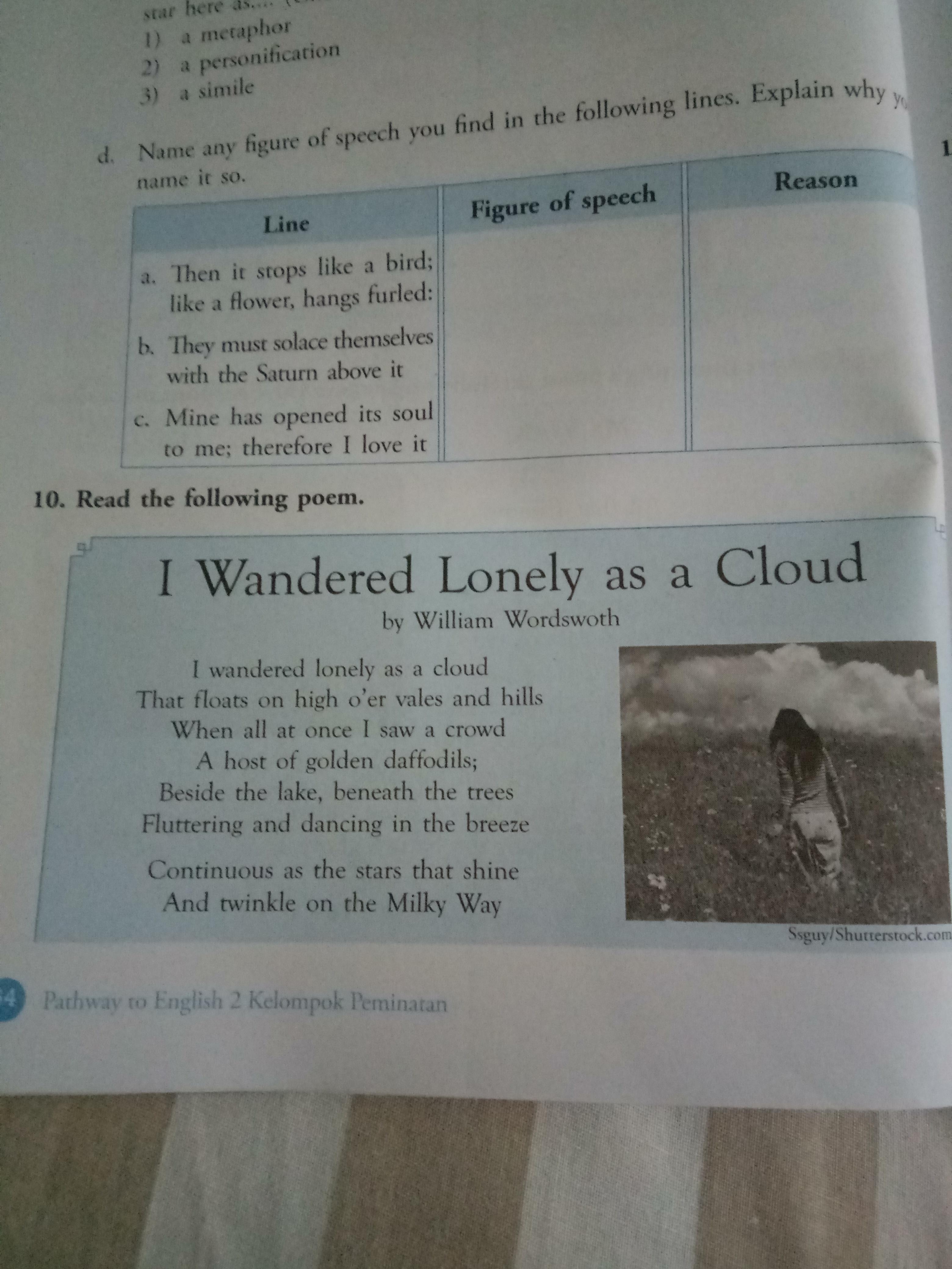 Tolong Jawab Yaa Cuman 10 Soal Kok Hari Ini Brainly Co Id What I The Main Message Of Poem Wandered Lonely A Cloud