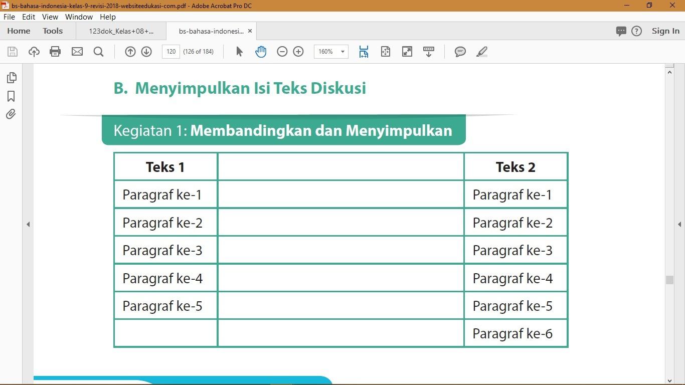 Pada Halaman 120 Buku Paket Bajasa Indonesia Kelas 9 K13 Jawaban Kegiatan 1 Membandingkan Dan Brainly Co Id