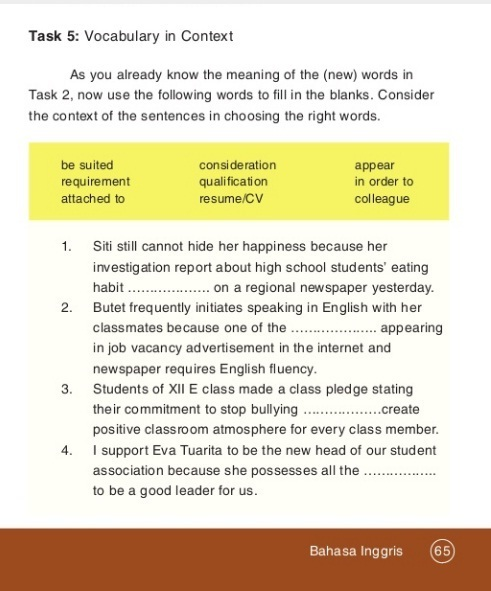 Jawaban Bahasa Inggris Kelas 12 Halaman 65 66 Brainly Co Id