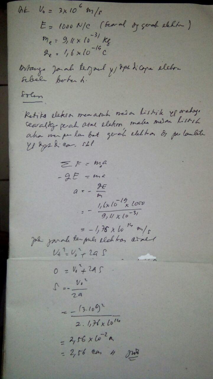 Sebuah elektron dengan kelajuan 3*10 m/s bergerak memasuki ...