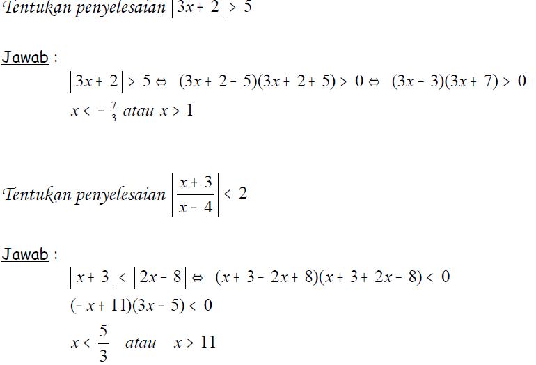 sebutkan contoh soal persamaan dan pertidaksamaan nilai ...