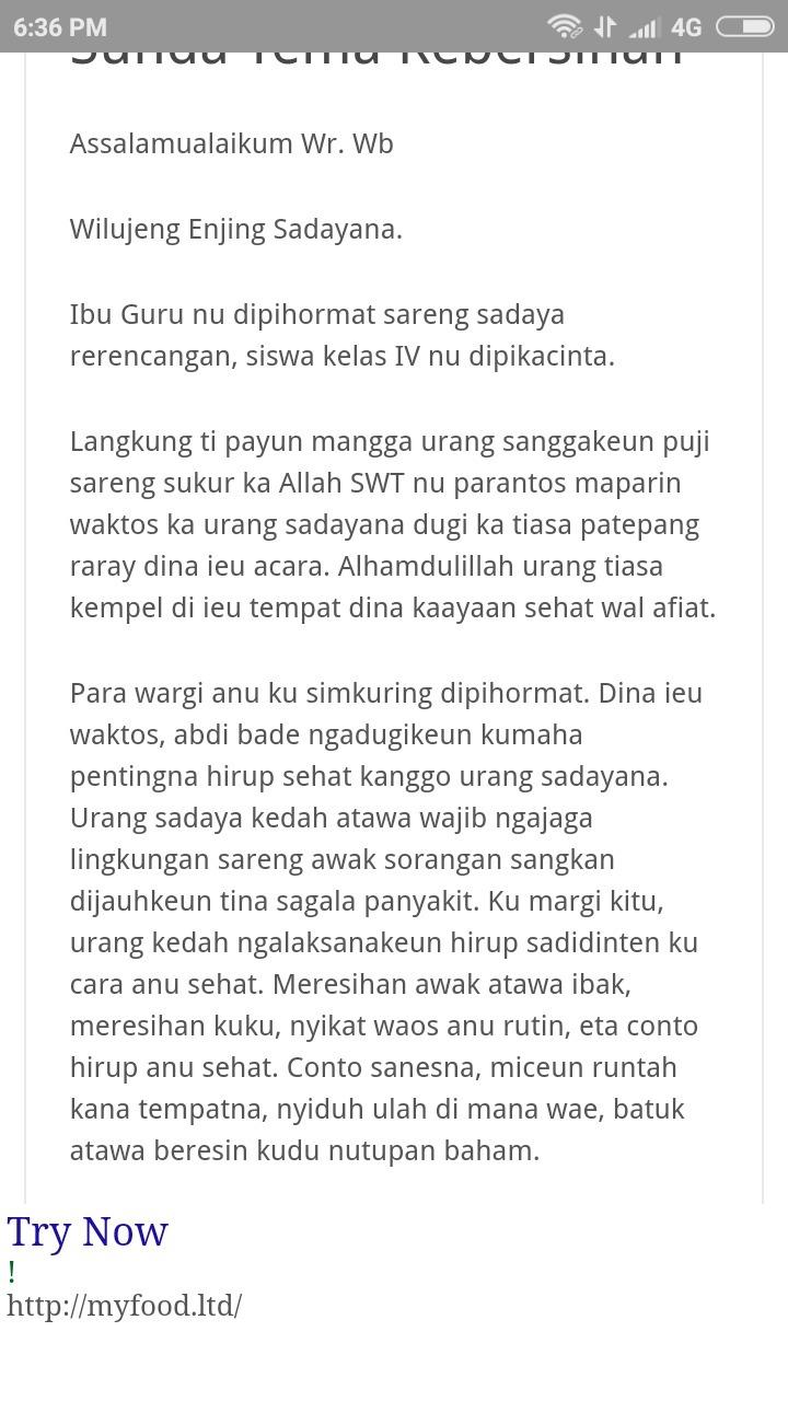 Contoh Pidato Dalam Bahasa Sunda Tentang Ngajaga Kebersihan