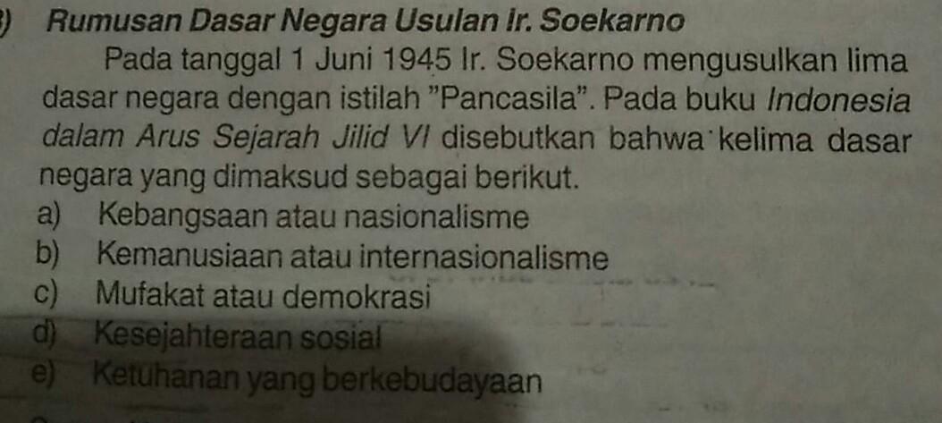Apa Hasil Rumusan Rancangan Dasar Negara Dari Ir Soekarno Brainly Co Id