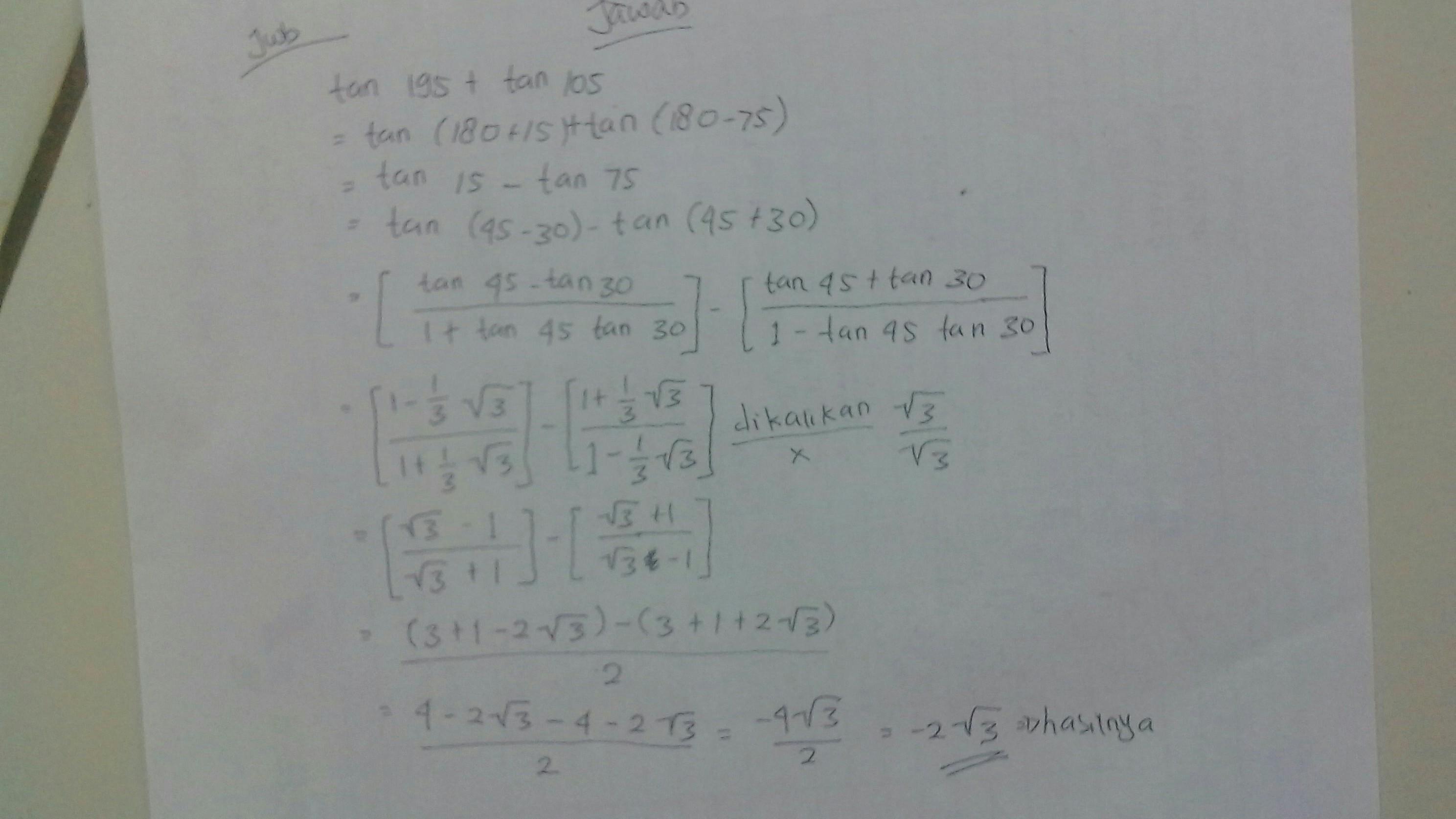 43+ Nilai dari tan 105 adalah info
