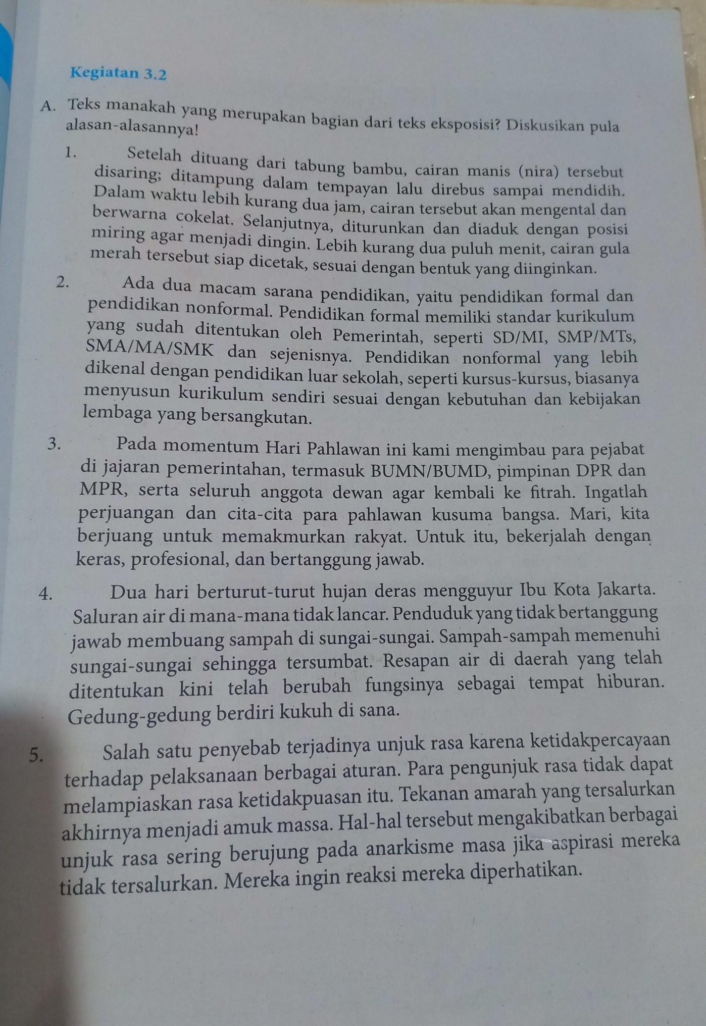 Kegiatan 3 2 Bahasa Indonesia Kelas 8 Tolong Dijawab Ya Brainly