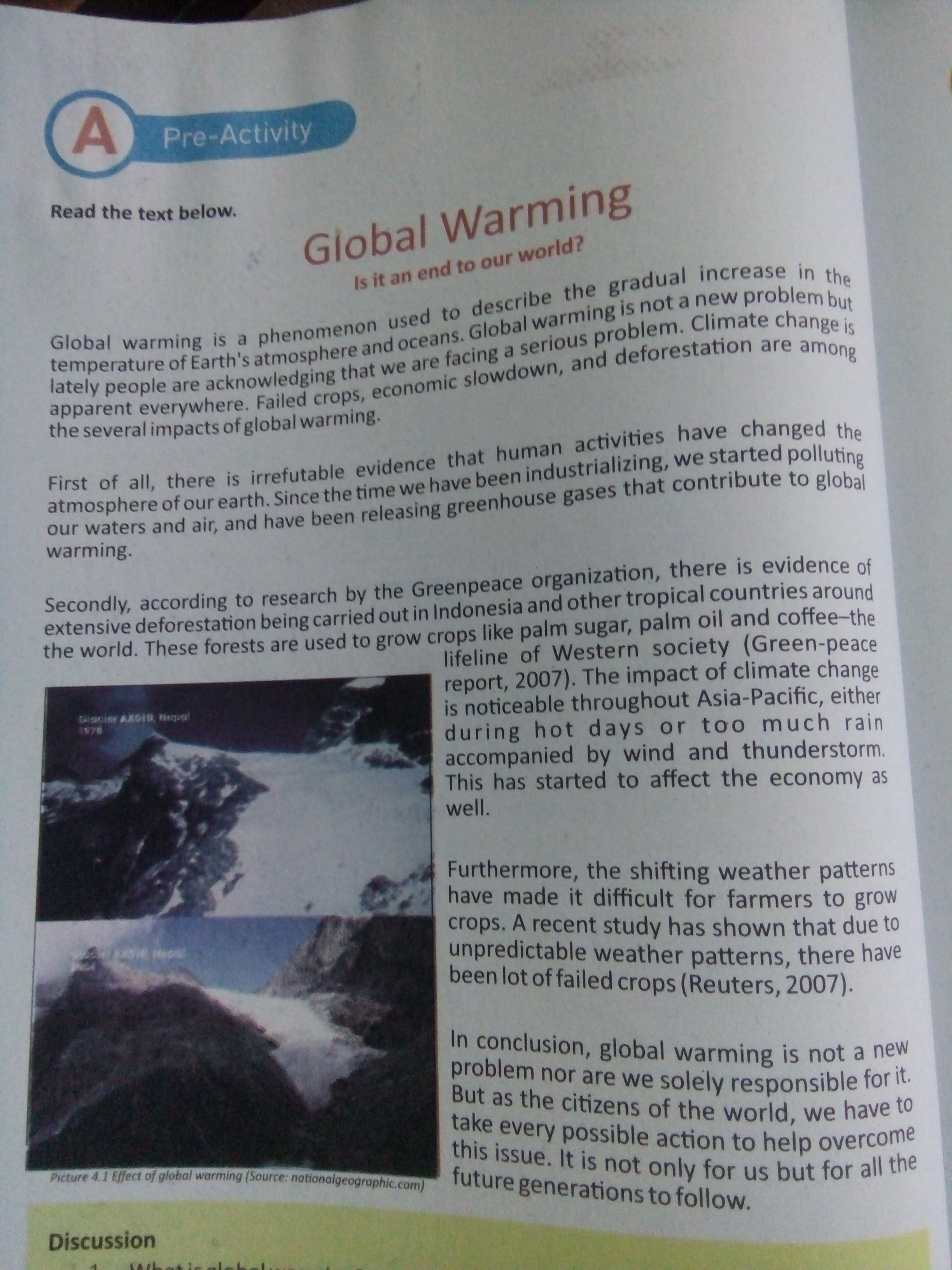 1 What Is Global Warming 2 Is It A Severe Problem Why 3 What Kind Of Text Is Given Above Brainly Co Id