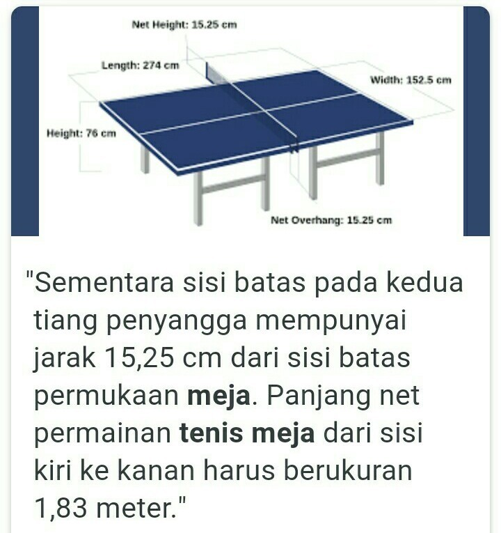 Ukuran Lapangan Tenis Meja Brainly Co Id