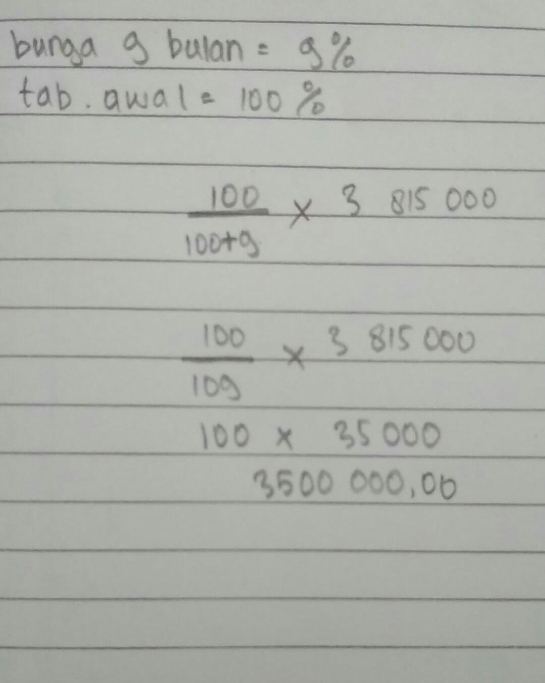 Setelah 9 Bulan Uang Tabungan Rani Di Koperasi Berjumlah Rp3 815 000 00 Koperasi Memberikan Jasa Brainly Co Id