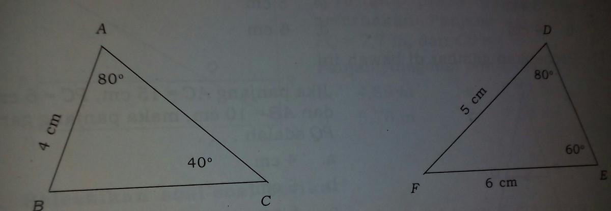 Perhatikan gambar di atas ini. segitiga ABC dan segitiga ...