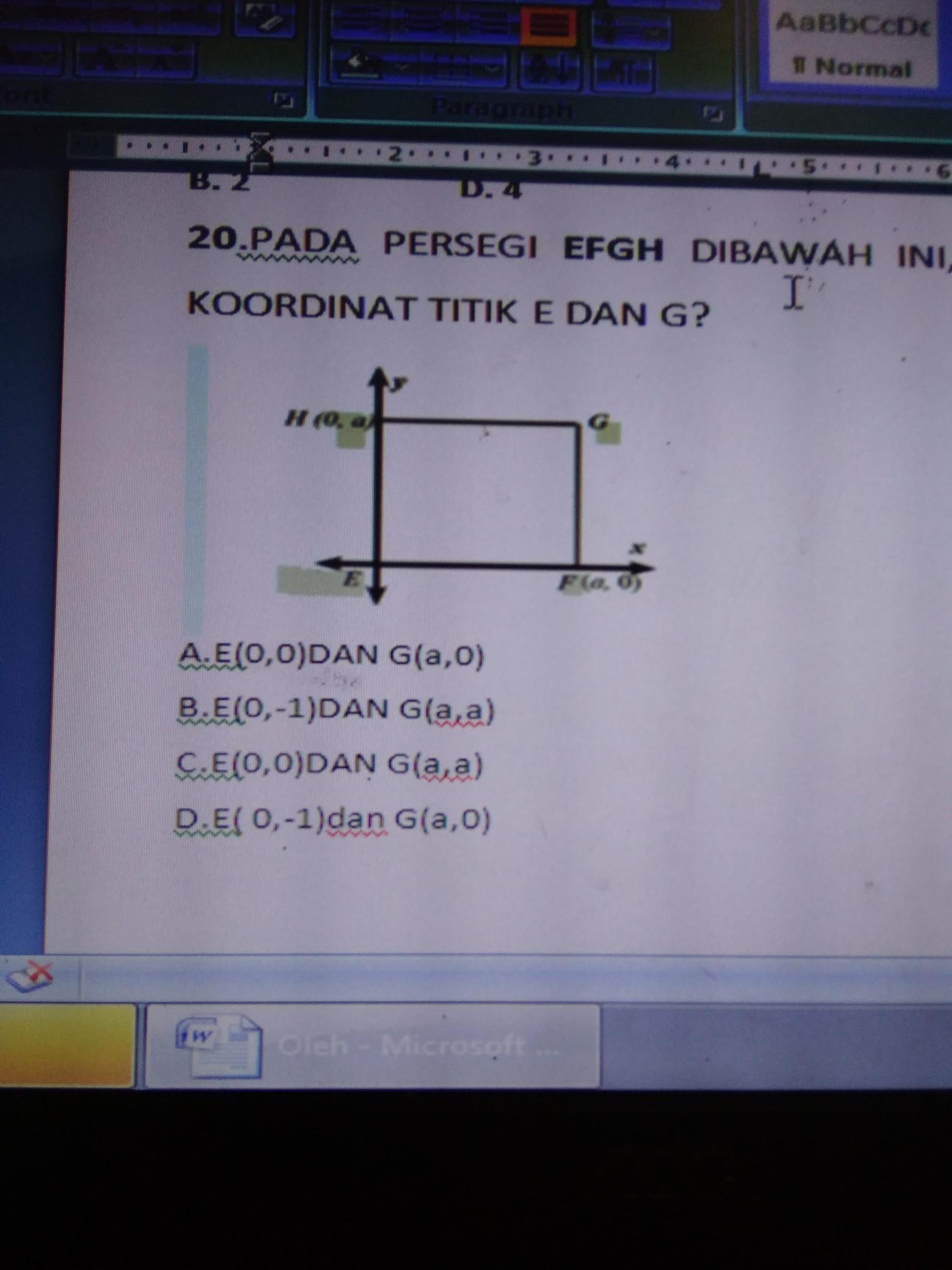 pada persegi efgh di bawah ini tentukan koordinat titik e dan g rh brainly co id