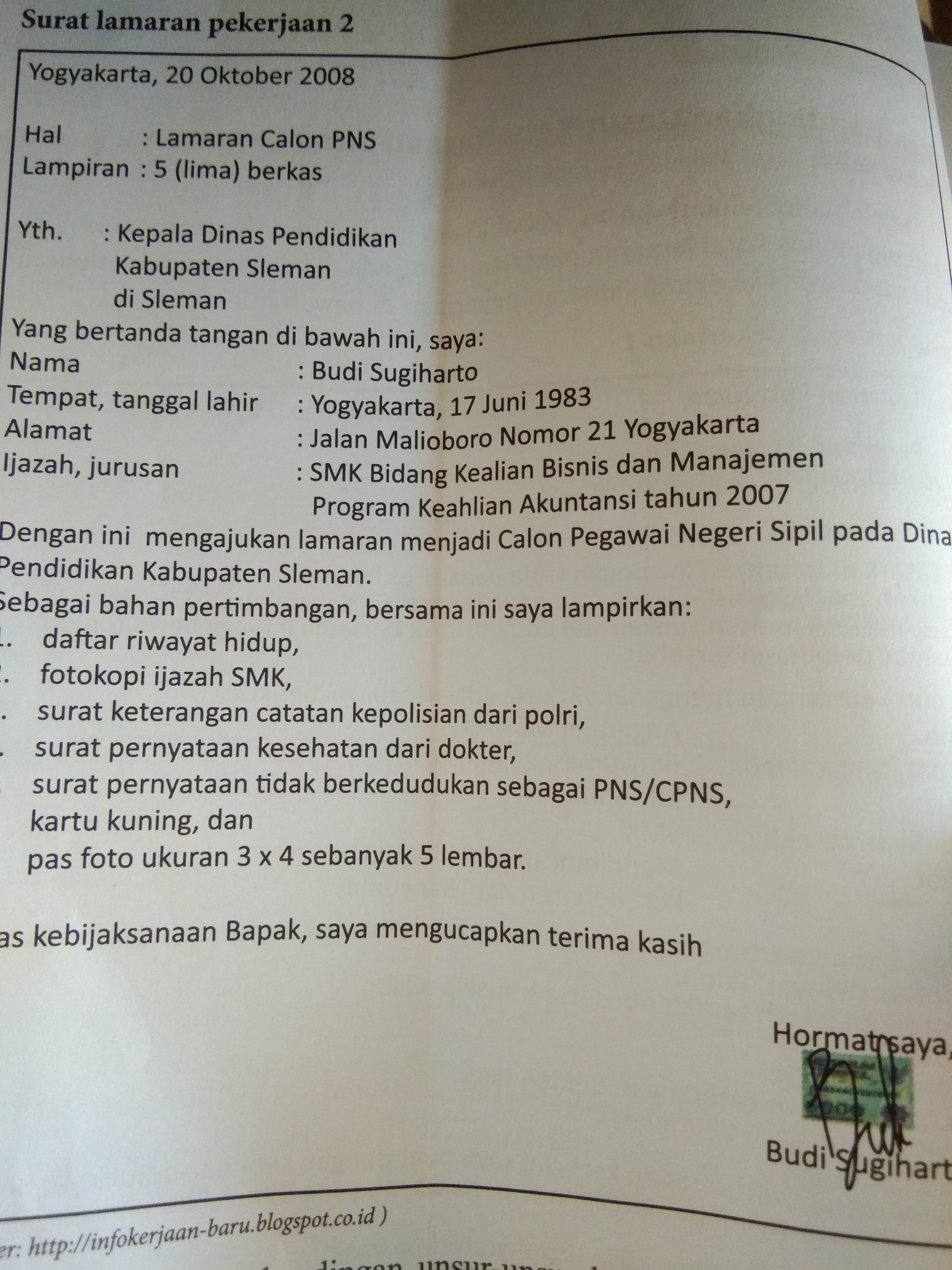 Unsur Dan Struktur Surat Lamaran Pekerjaan