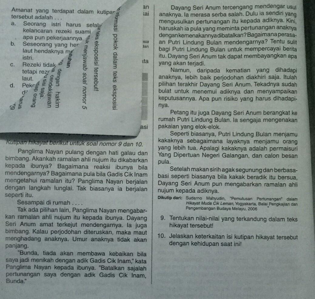 9 Tentukan Nilai Nilai Terkandung Dalam Teks Hikayat Tersebut 10