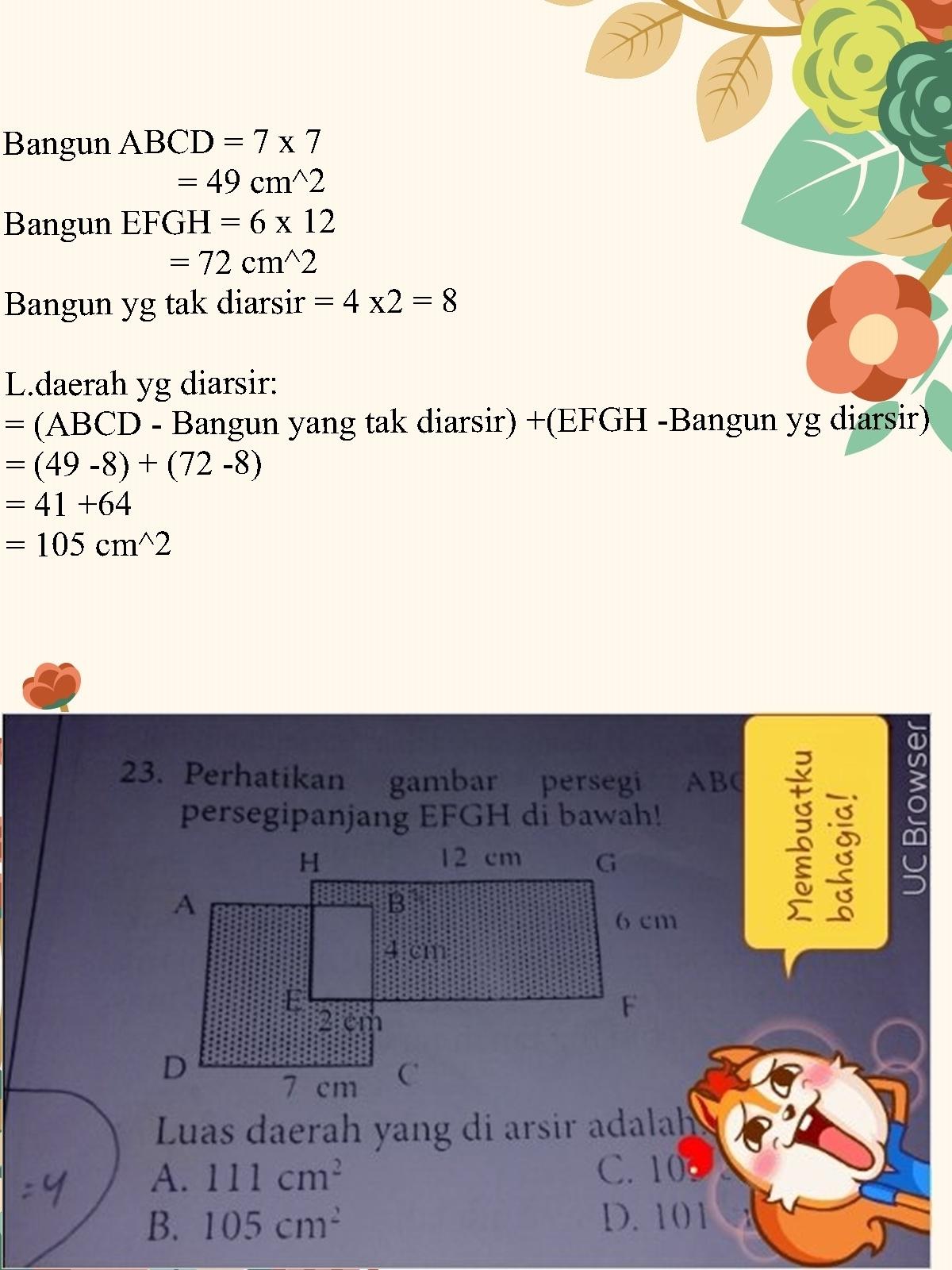 Perhatikan gambar persegi ABCD dan persegipanjang EFGH di ...