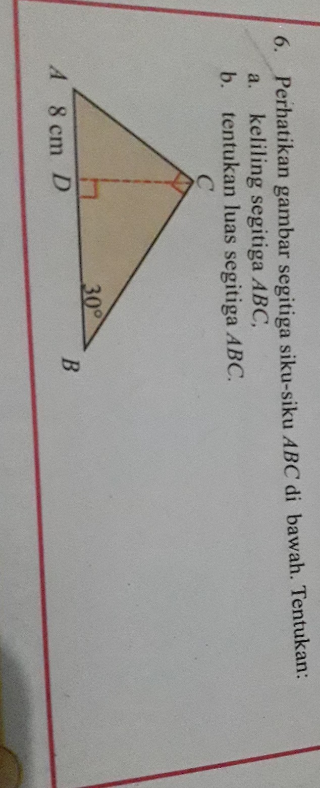perhatikan gambar segitiga siku-siku abc dibawah ini ...