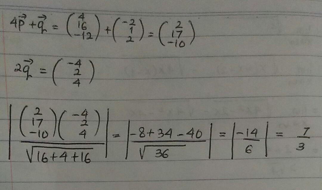 Diketahui Vektor P 1 4 3 Dan Q 2 1 2 Proyeksi Skalar