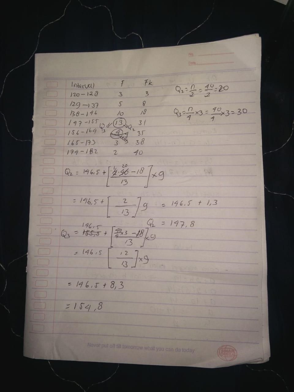 Bantuin ka mtk cuma tentukan Q2 dan Q3 dari data kelompok ...