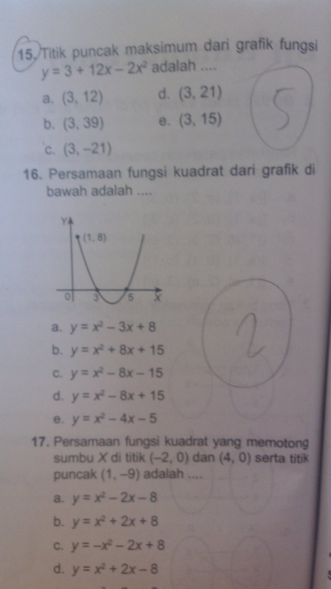 persamaan fungsi kuadrat dari grafik di atas adalah ...