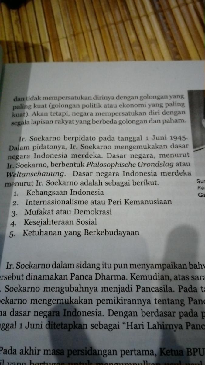 sebutkan 5 asas dasar negara menurut ir soekarno - Brainly ...