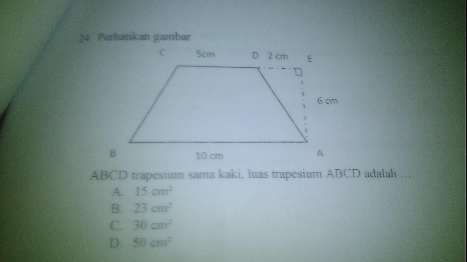 Abcd Trapesium Sama Kaki Luas Trapesium Abcd Adalah Brainly Co Id