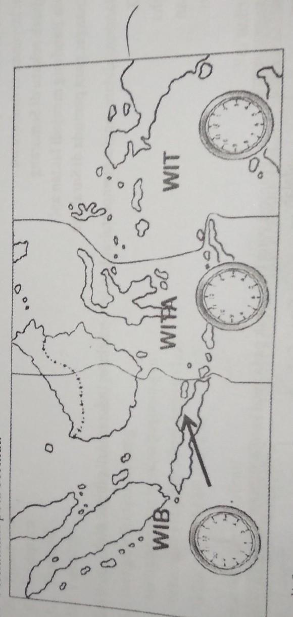 Jika Di Samarinda Pukul 08 30 Pada Saat Yang Sama Daerah Yang Ditunjukkan Anak Panah Pada Peta Di Brainly Co Id