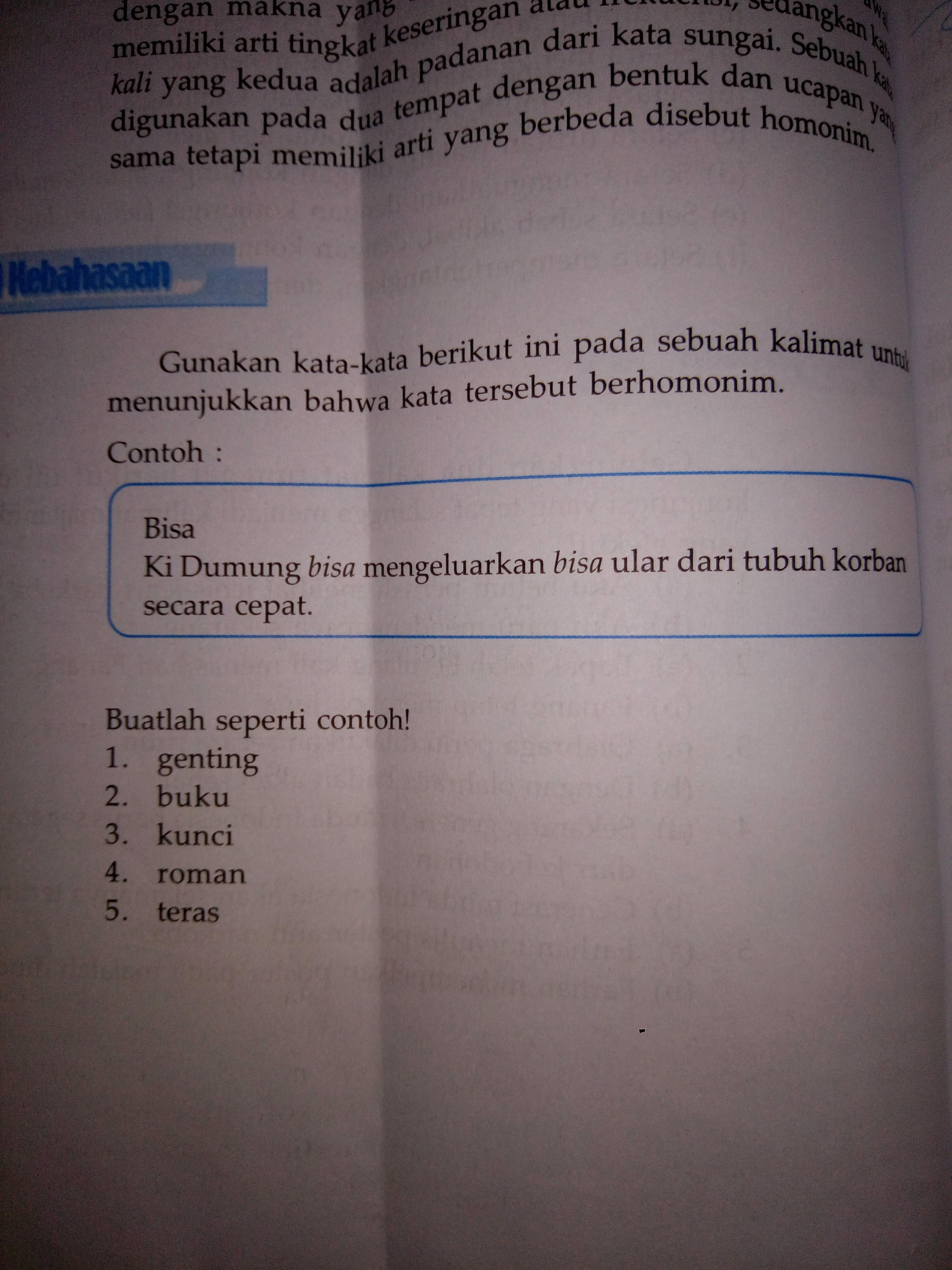 Contoh Kalimat Homonim Genting Buku Kunci Roman Teras Download
