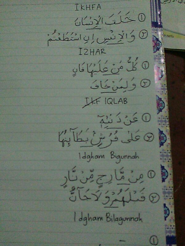 Sebutkan Contoh Bacaan Idzhar Idghom Bigunnah Bilagunnah Iqlab