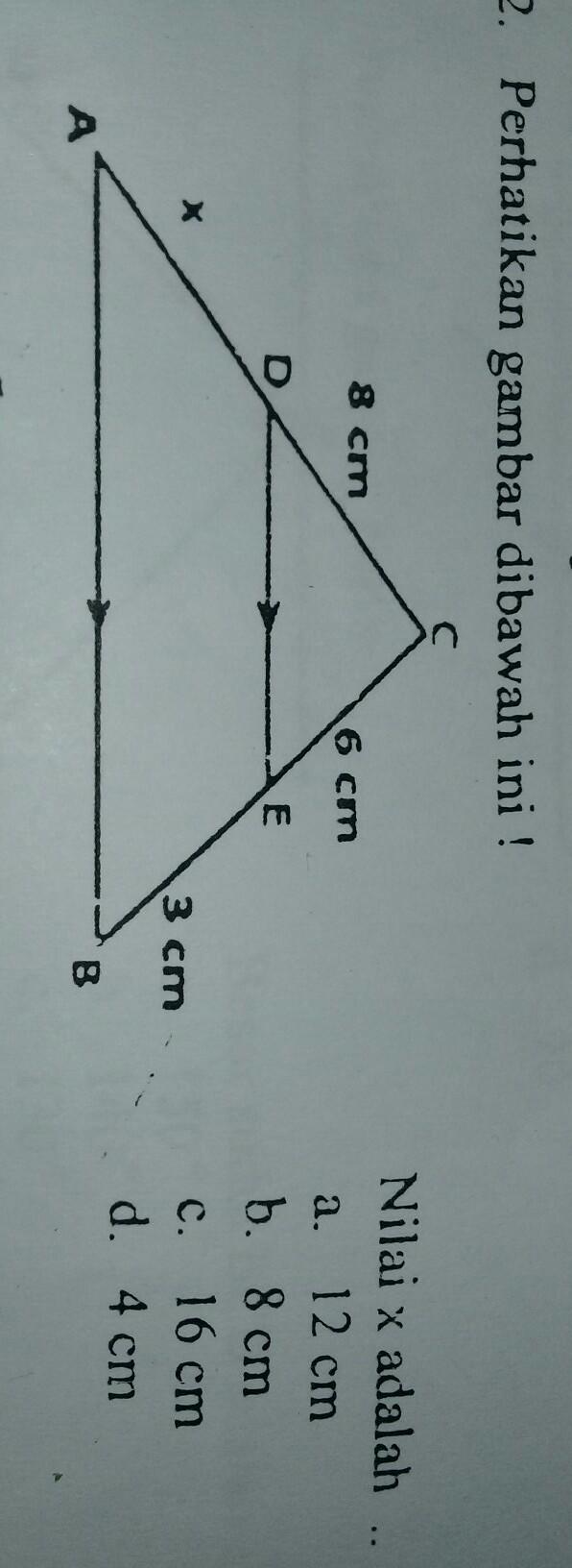 perhatikan gambar dibawah ini!nilai x adalah - Brainly.co.id