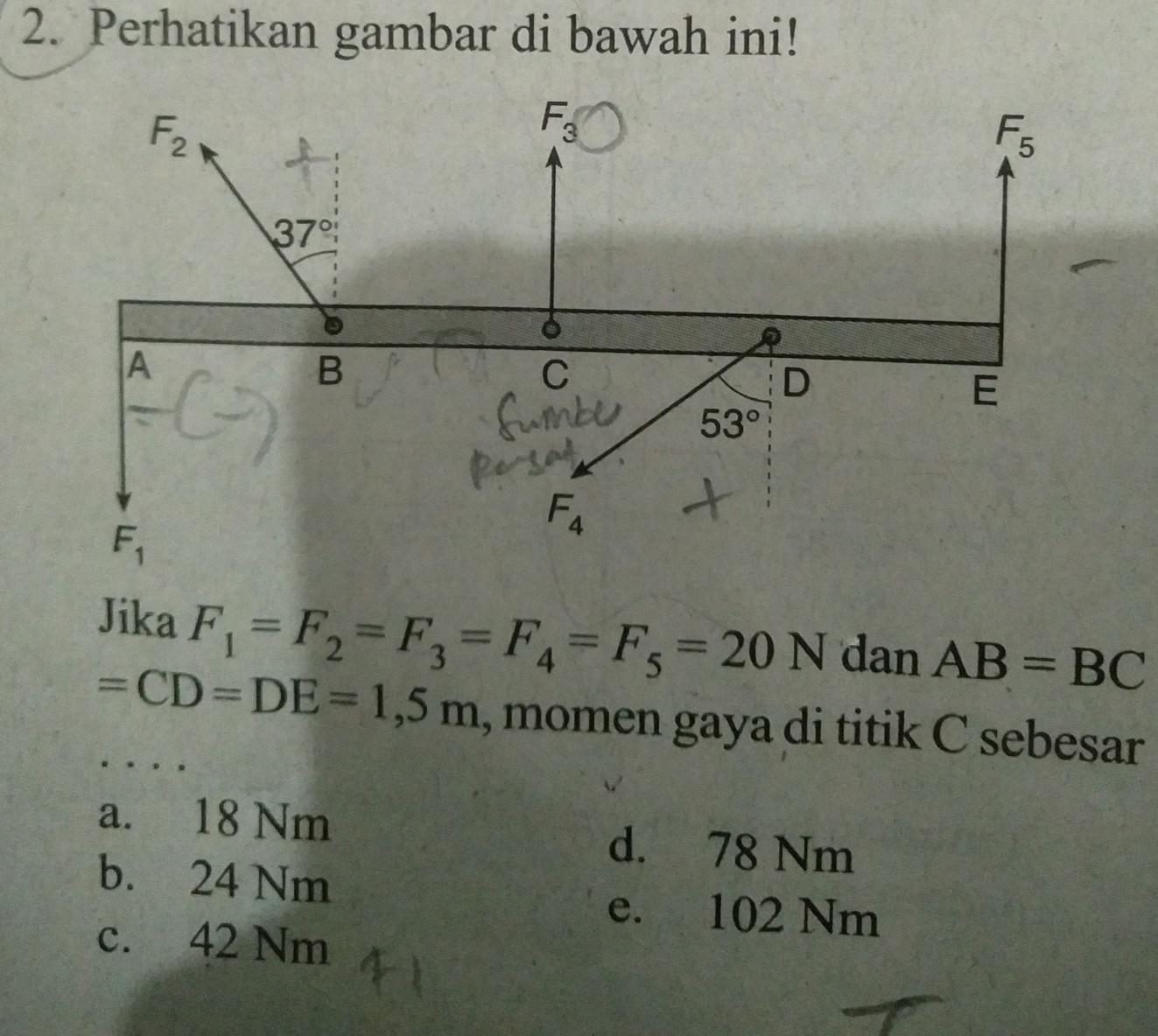2. Perhatikan gambar di bawah ini!Jika F, =F= F = F = Fs ...