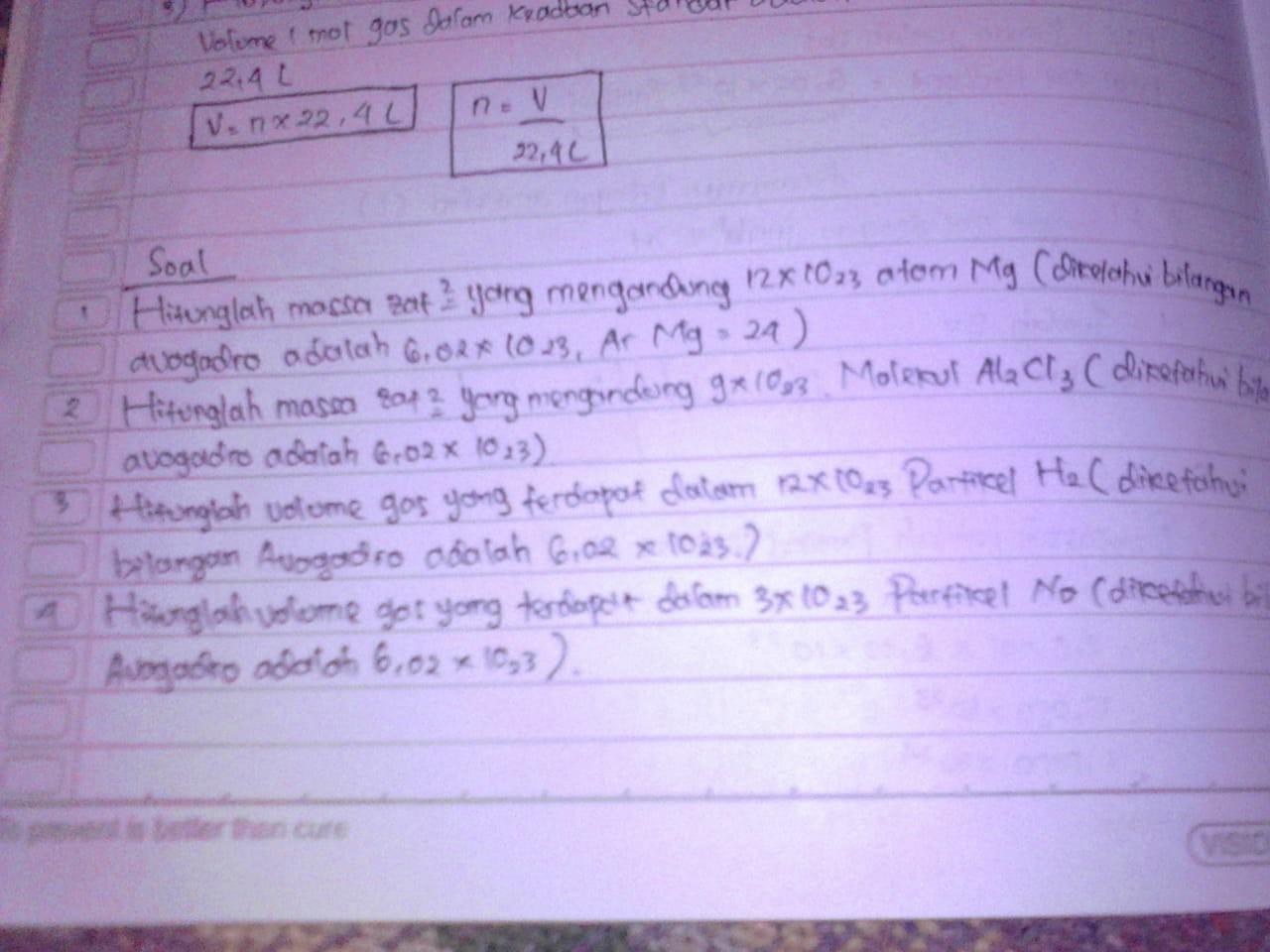 1).Hitunglah massa zat-zat yang mengandung 12×1023 atom Mg ...