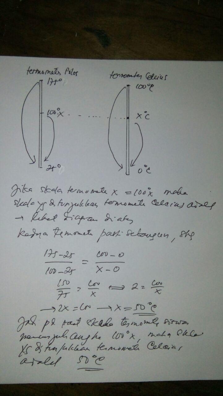 seorang siswa membuat skala pada termometer polos , dengan ...