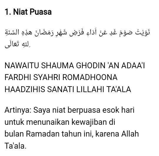 Bagaimana Bunyinya Lafaz Niat Puasa Ramadhan Jelaskan
