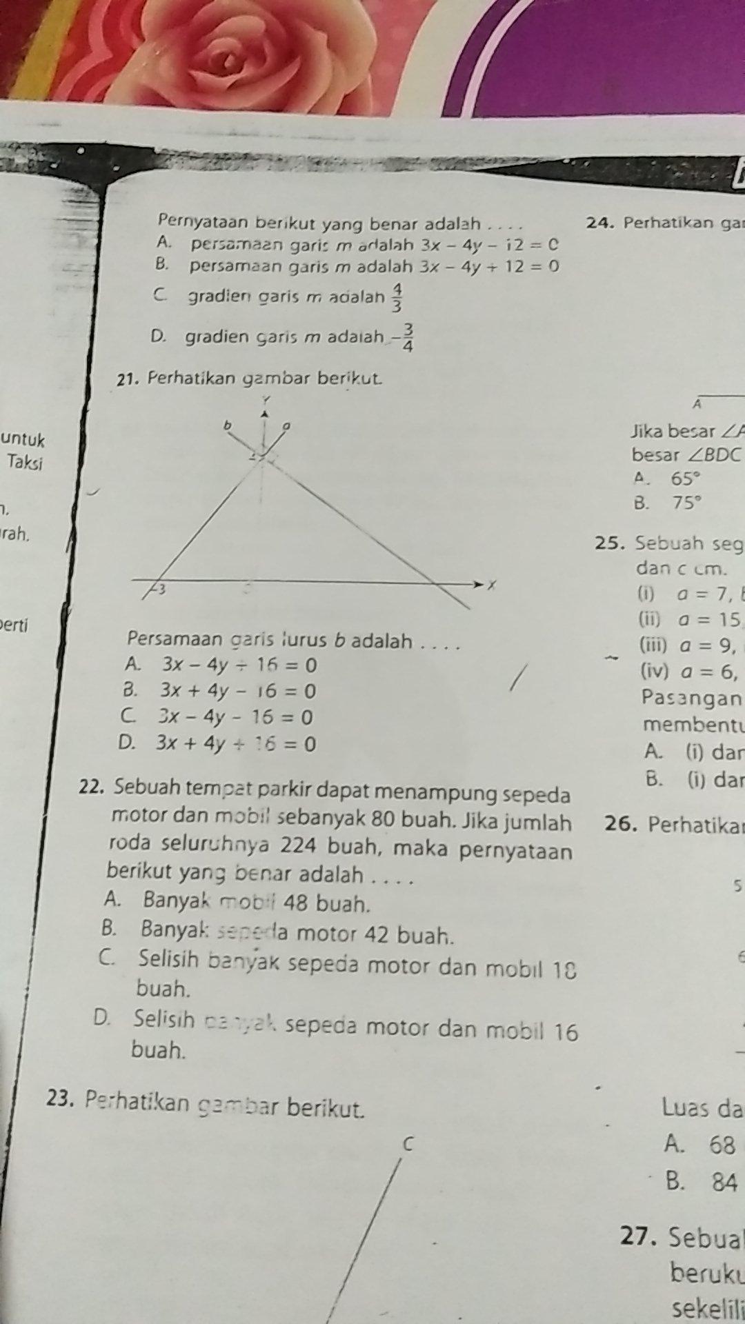 nomor 22 persamaan garis lurus b adalah a 3x 4y 16=0b 3x 4y 16=0c 2018 09 25 07 12 01 Unduh