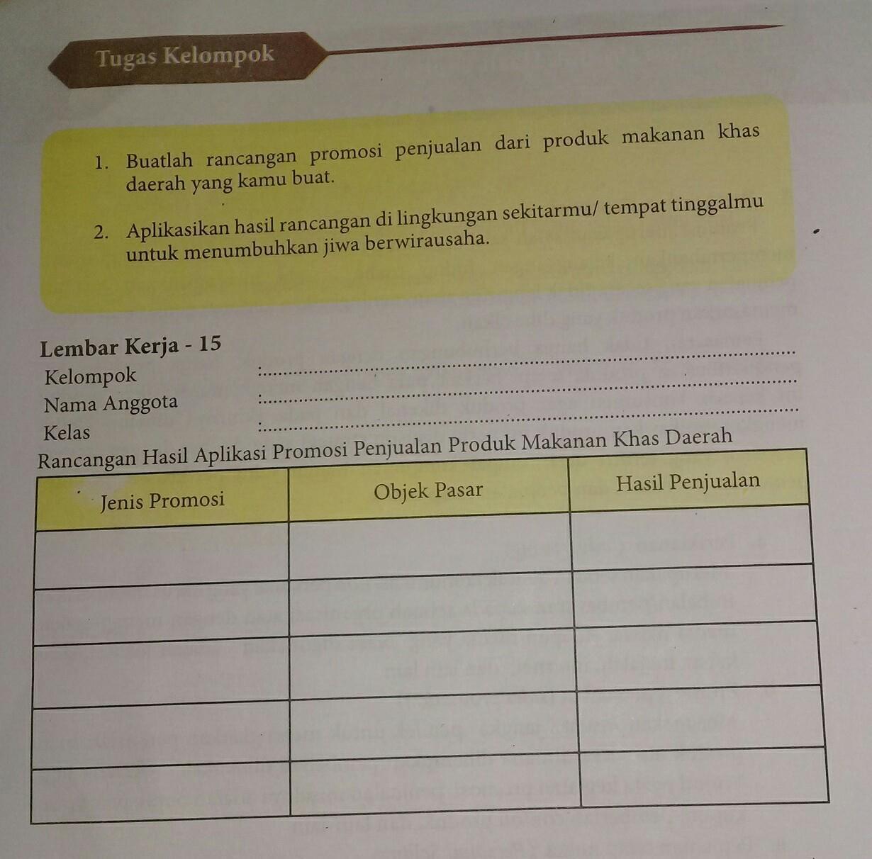 Prakarya Amp Kewirausahaanrancangan Hasil Aplikasi Promosi Penjualan Produk Makanan Khas Brainly Co Id
